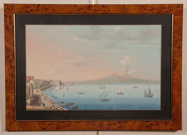 19th Century Italian Neapolitan Gouache Views For Sale