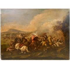 Italian Neapolitan Battle Scene, Late 17th-18th Century