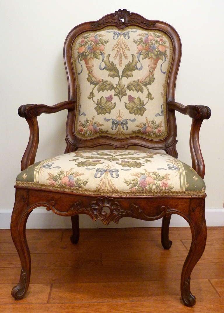 18th century Italian Venetian carved walnut armchair.