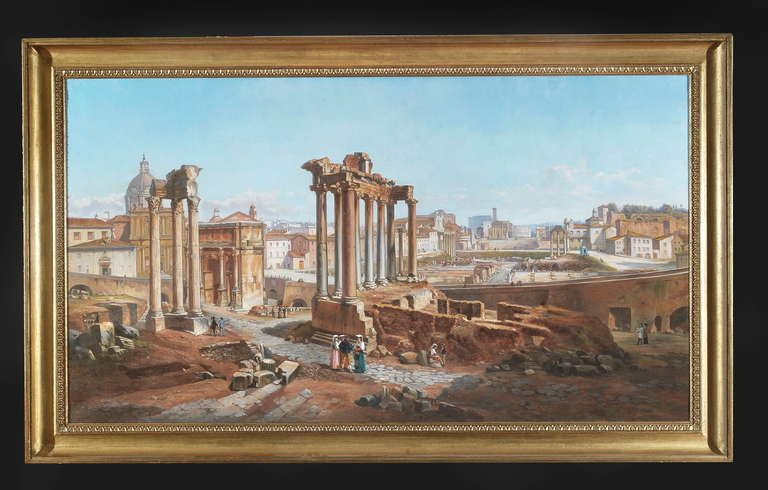 A 19th-century Panoramic view of the Roman Forum by Vincenzo Giovannini (1817-1903).  A similar view is published on the Vincenzo Giovannini Monograph page 104.  Edizioni Studio Ottocento Roma.  Bibliography:   Pier Andrea De Rosa and Paolo Emilio