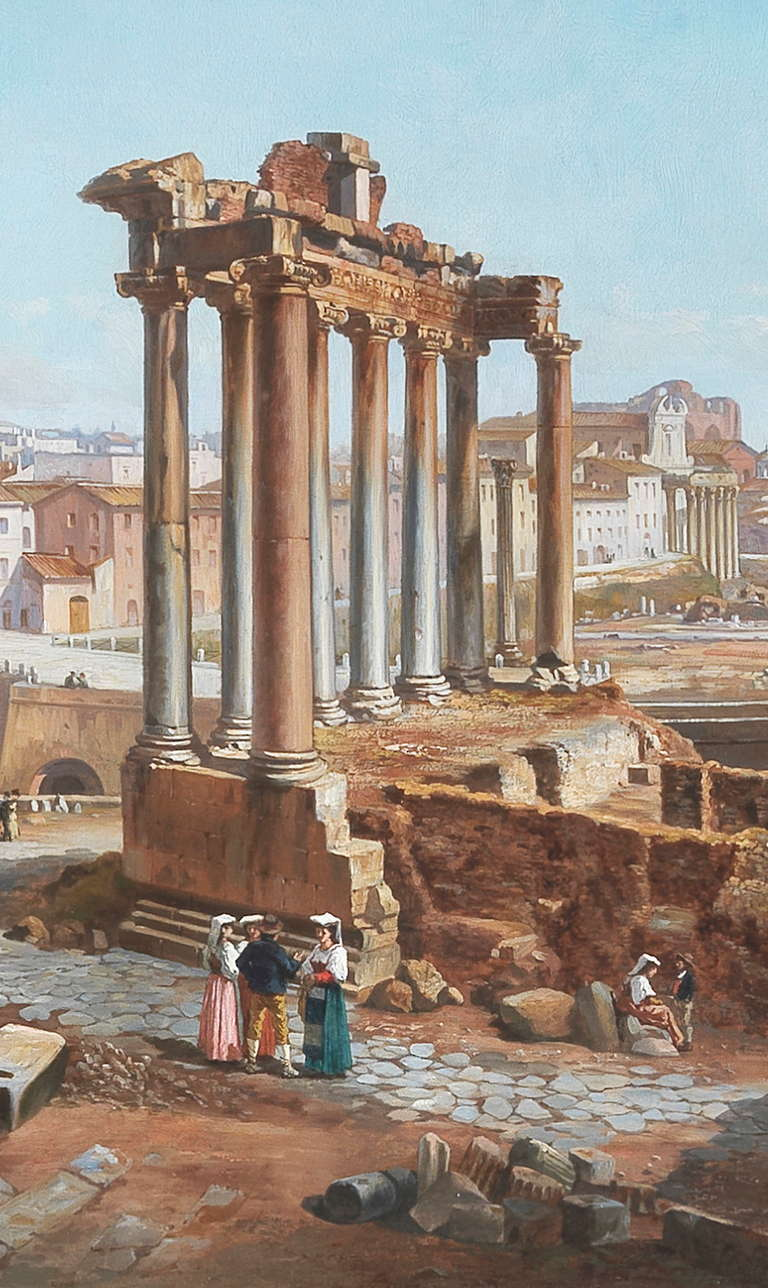 Italian Vincenzo Giovannini Panoramic View of the Roman Forum For Sale