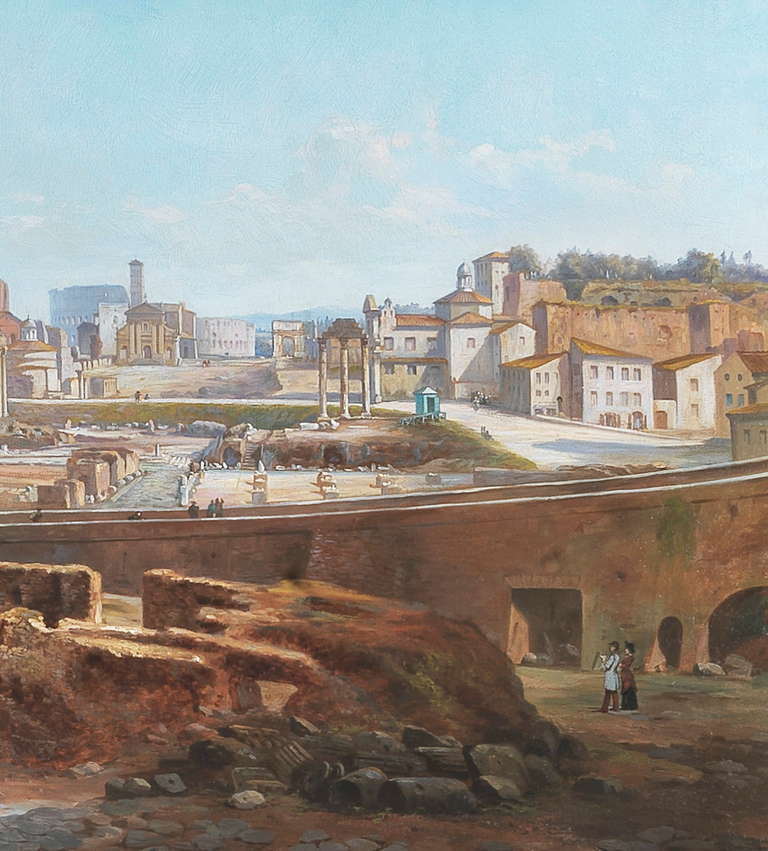 19th Century Vincenzo Giovannini Panoramic View of the Roman Forum For Sale