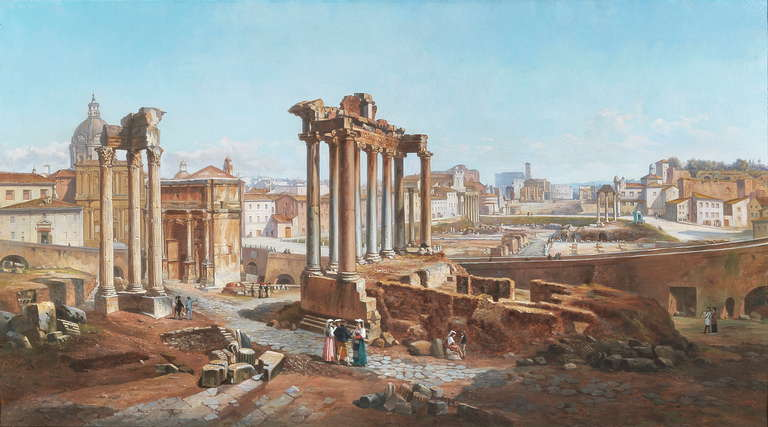 Grand Tour Vincenzo Giovannini Panoramic View of the Roman Forum For Sale