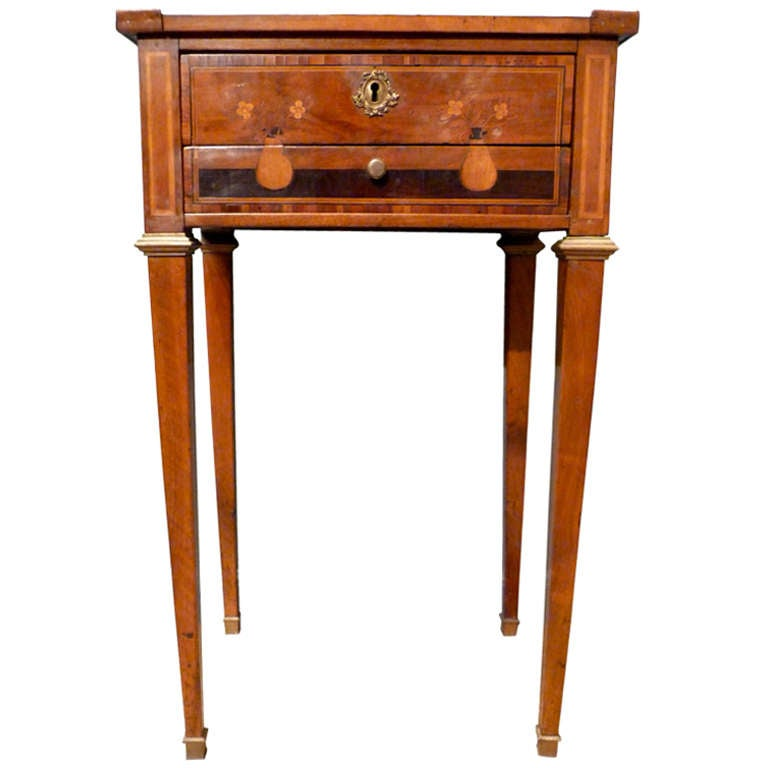 Late 18th Century Northern Italian Inlaid Sewing Table At