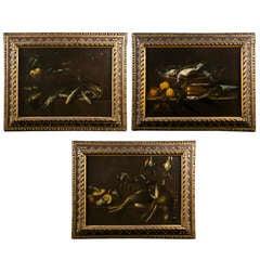 "Set of 3 late 17th Century Spanish Still-lives "" Bodegones"""