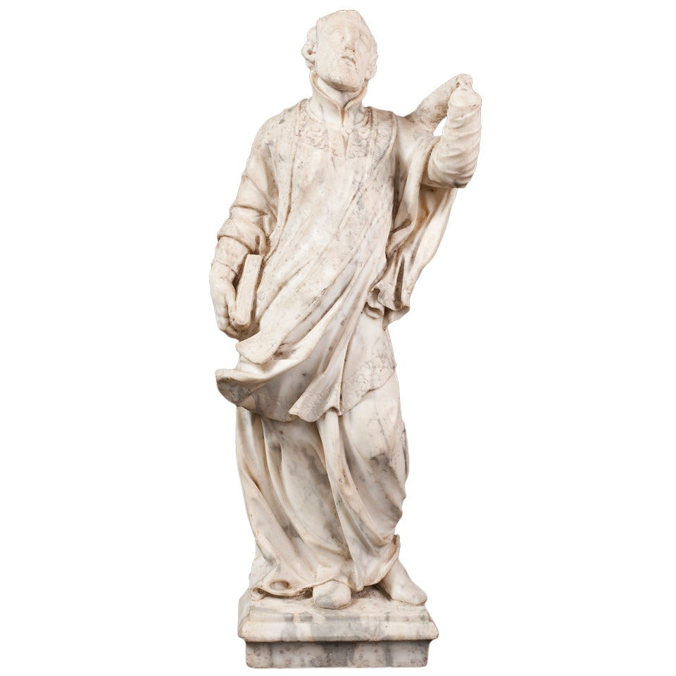 Marble Sculpture of a Saint, Late 17th Century