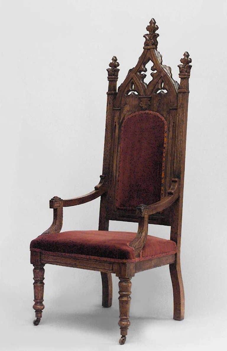 19th C English Gothic Revival Armchair At 1stdibs