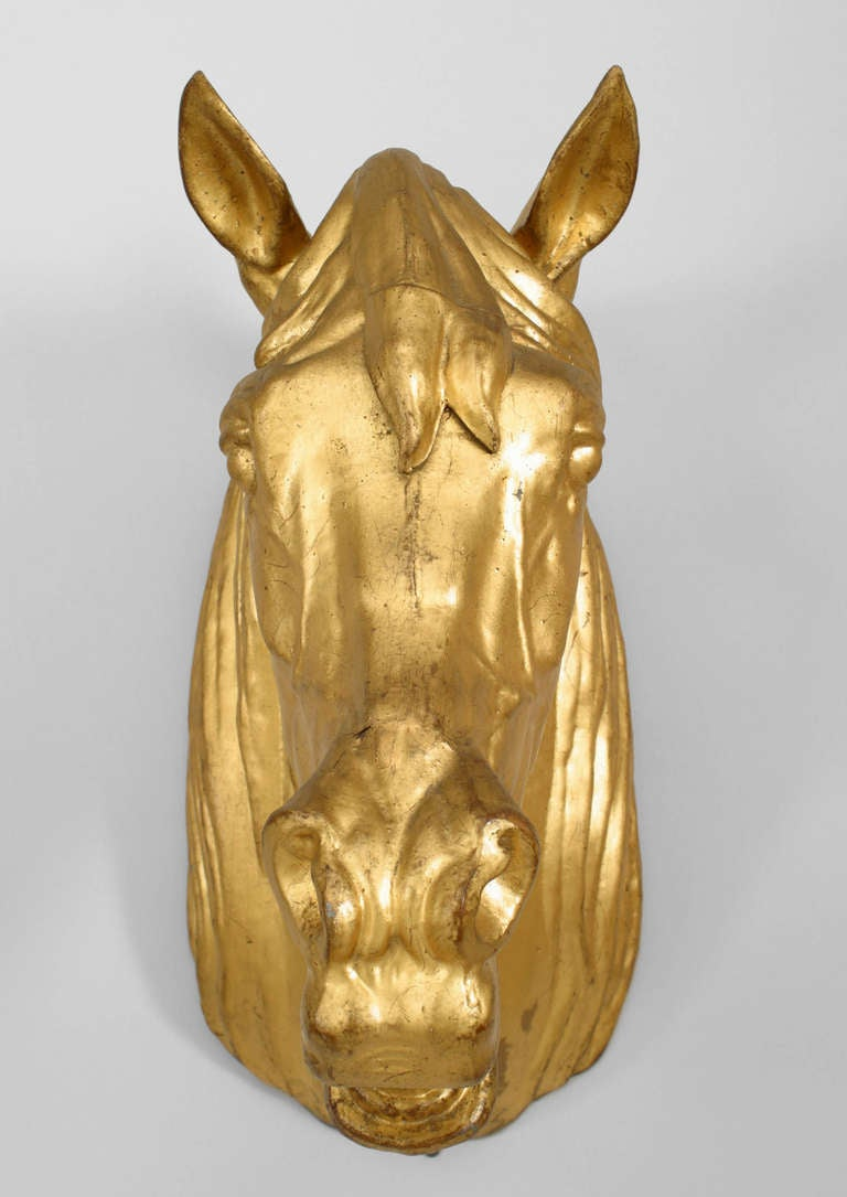 20th Century French Provincial Gilt Mounted Horse Head For Sale 3