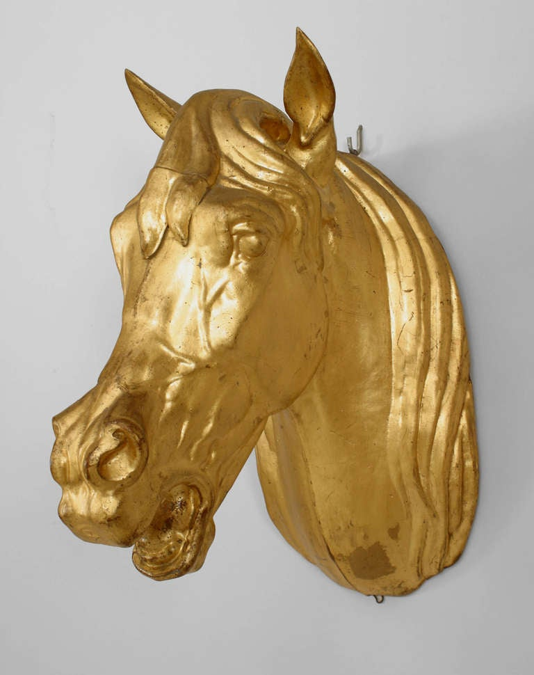 20th Century French Provincial Gilt Mounted Horse Head For Sale 4