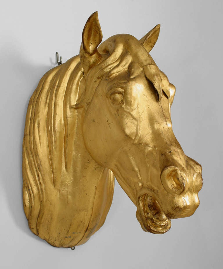 20th Century French Provincial Gilt Mounted Horse Head For Sale 2