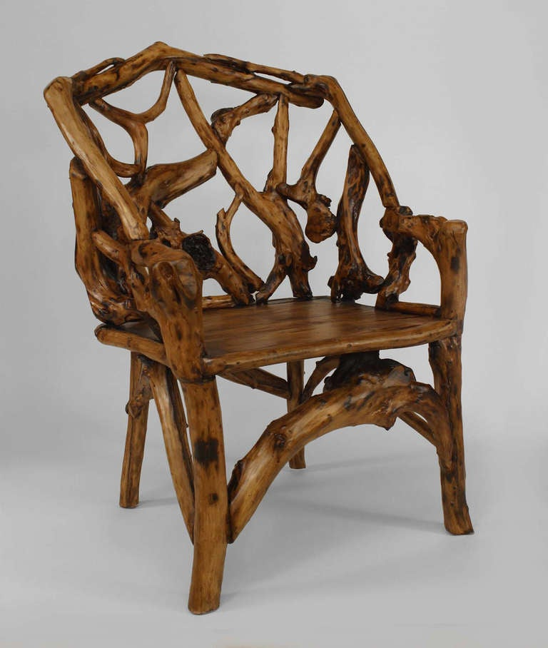 Pair of 20th c adirondack style root chairs for sale at - Adirondack style bedroom furniture ...