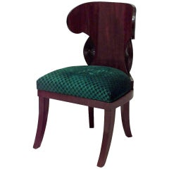 20th c. Russian Upholstered Mahogany Klismos Side Chair