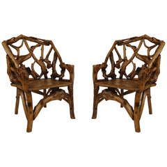 Pair of 20th c. Adirondack Style Root Chairs