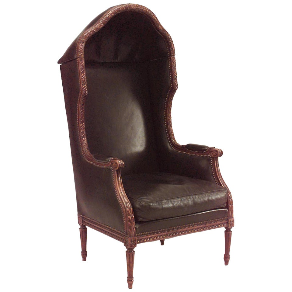 French Louis XVI Walnut Hooded Leather Chair