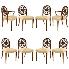 Set of 8 19th c. English Adam Carved Satinwood Chairs