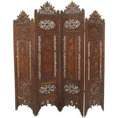 Moorish Style Filigreed Oak Folding Screen