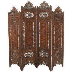 Moorish Carved Teak 4-Fold Screen