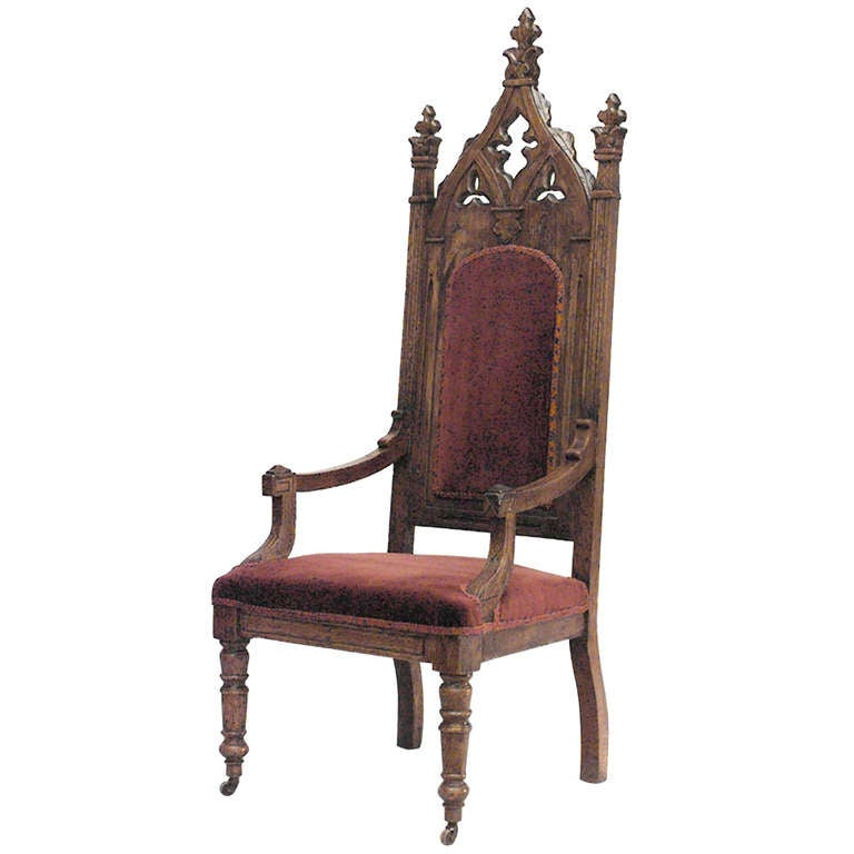 19th C English Gothic Revival Armchair For Sale At 1stdibs