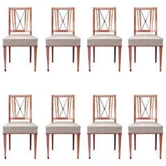 1940s French Set of Eight Side Chairs Attributed to Jacques Adnet