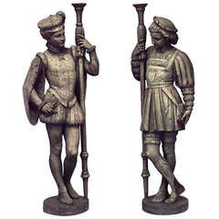 Pair of Large Turn of the Century Renaissance Style Page Figures