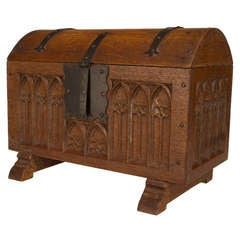 Turn of the Century French Gothic Style Carved Oak Coffer