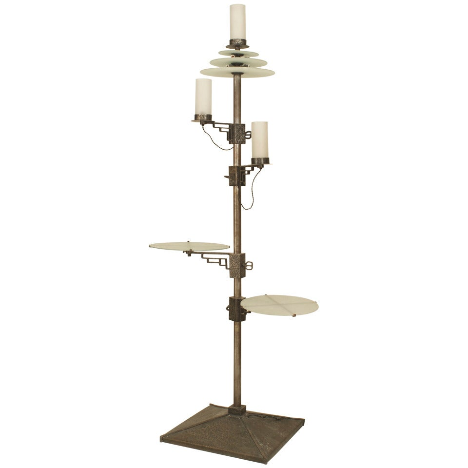 French Art Deco Wrought Iron Zadounaisky Floor Lamp