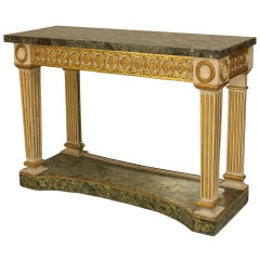19th Century Italian Neoclassical Gilt Carved Marble Console Table