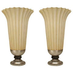 Pair of Large Mid-Century Fluted Urns with Silver Bases