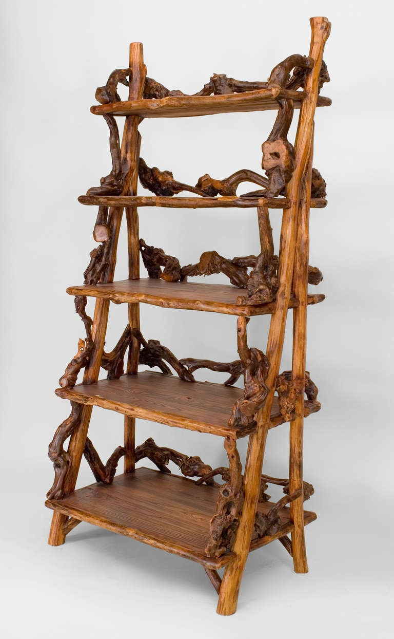 late 20th c adirondack style root filigreed etagere for. Black Bedroom Furniture Sets. Home Design Ideas