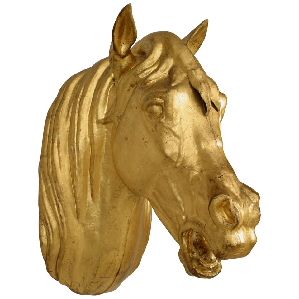 20th c. French Provincial Gilt Mounted Horse Head For Sale at 1stdibs