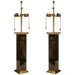 Pair of 1960's Karl Springer Gunmetal and Brass Table Lamps