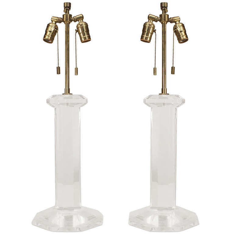 Pair of 1960's American Lucite Lamps Attributed to Karl Springer
