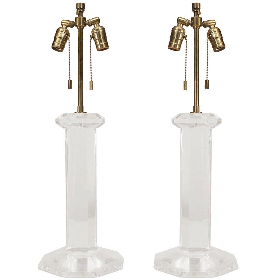 Pair of Mid-Century Springer Lucite Column Table Lamps