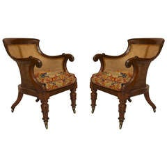 Pair of Late Regency Caned Mahogany Armchairs