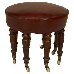 19th c. English Round Leather and Mahogany Bench