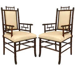 Pair of Mid-19th c. French Faux Bamboo Armchairs