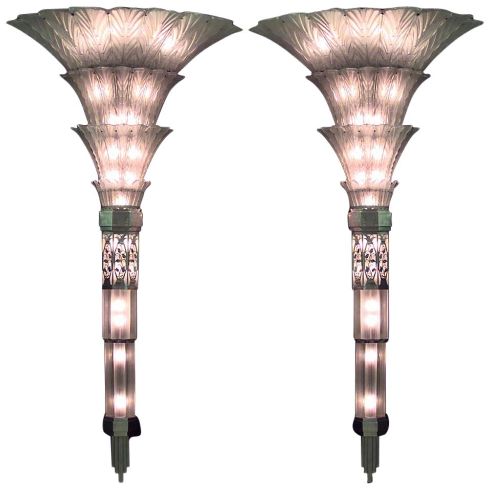 Pair of French Art Deco Glass Sconces by Sabino