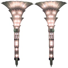 Pair of Sabino French Art Deco Monumental Flared Glass Sconces