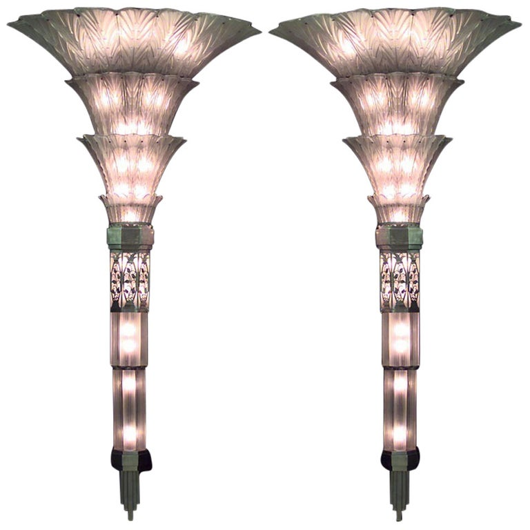 Pair of French Art Deco Glass Sconces by Sabino For Sale