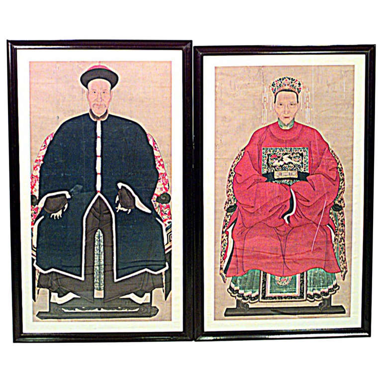 Pair of 19th c. Chinese Watercolor Ancestor Portraits