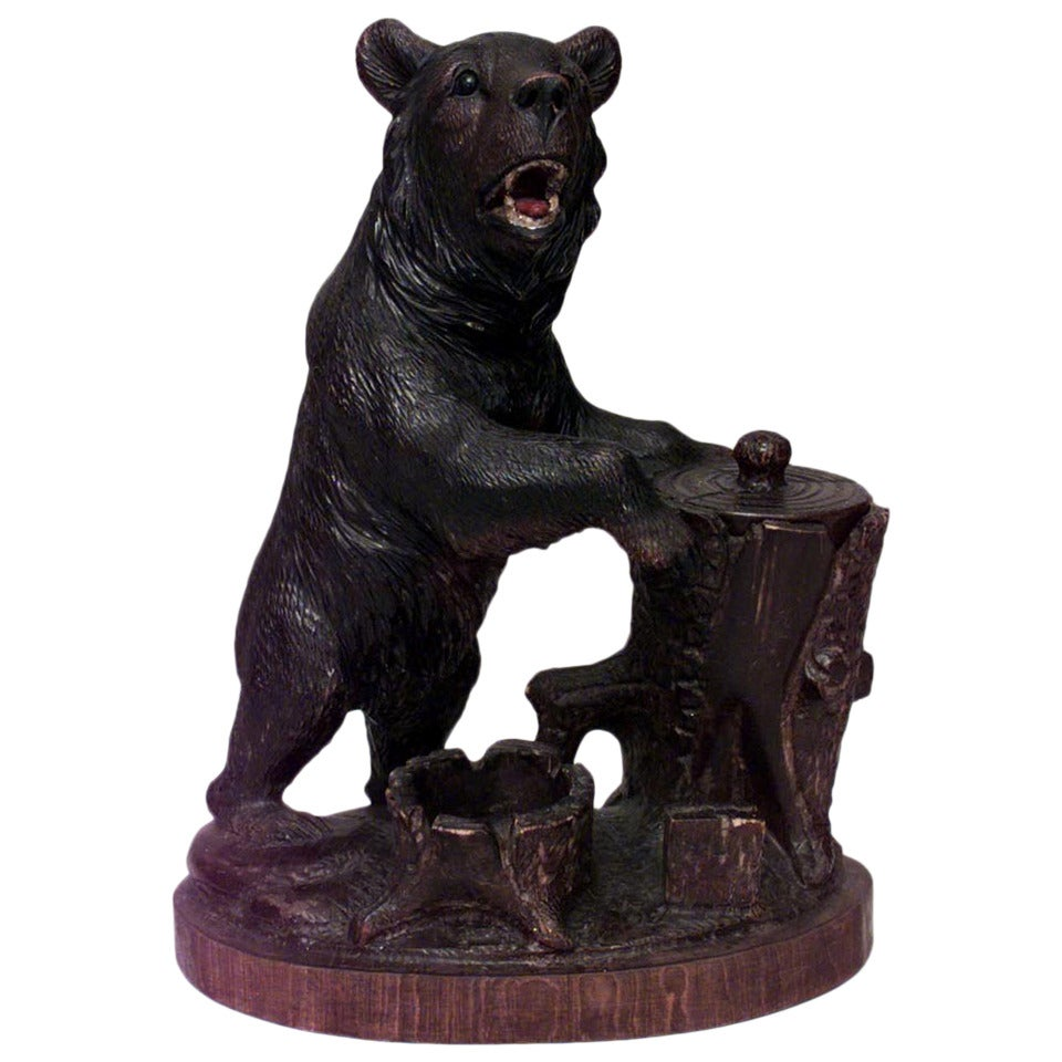 Rustic Black Forest Carved Bear Humidor