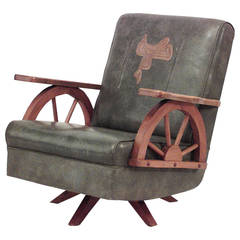 1940's American Western Wagon Wheel Easy Chair