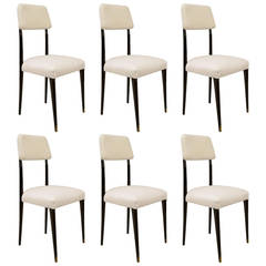 Set of 6 1940's Italian Ebonized Side Chairs, Attributed to Vittorio Dassi