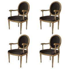 Set of 4 18th c. Italian Neoclassical Silver Gilt Armchairs