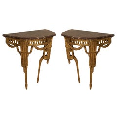 Pair of Late 18th Century Italian Neoclassical Bracket Console Tables