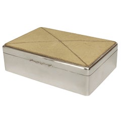 English Art Deco Shagreen and Sterling Silver Box