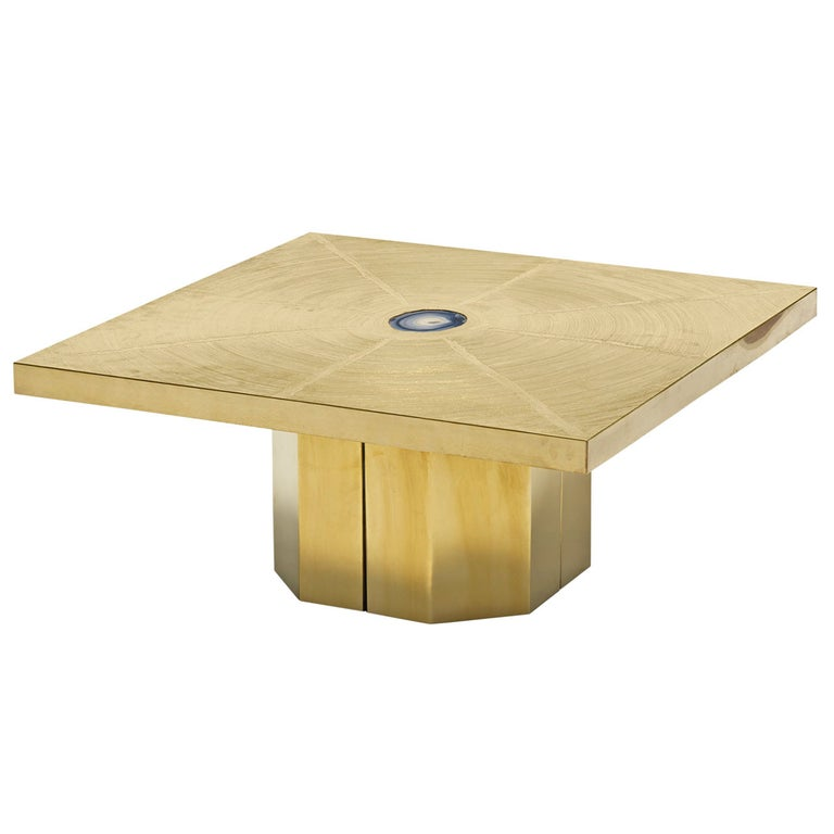 George Mathias Etched Brass and Agate Stone Pedestal Coffee Table For Sale