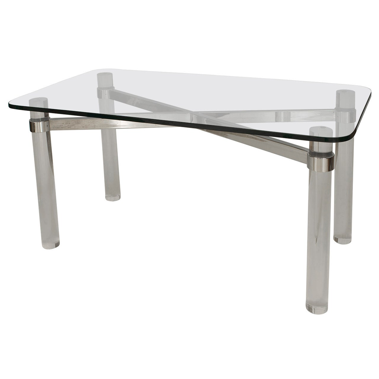 1970's American Pace Collection Glass & Lucite Center Table
