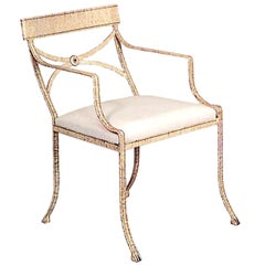 Unique Faux Maple Painted Iron Arm Chairs