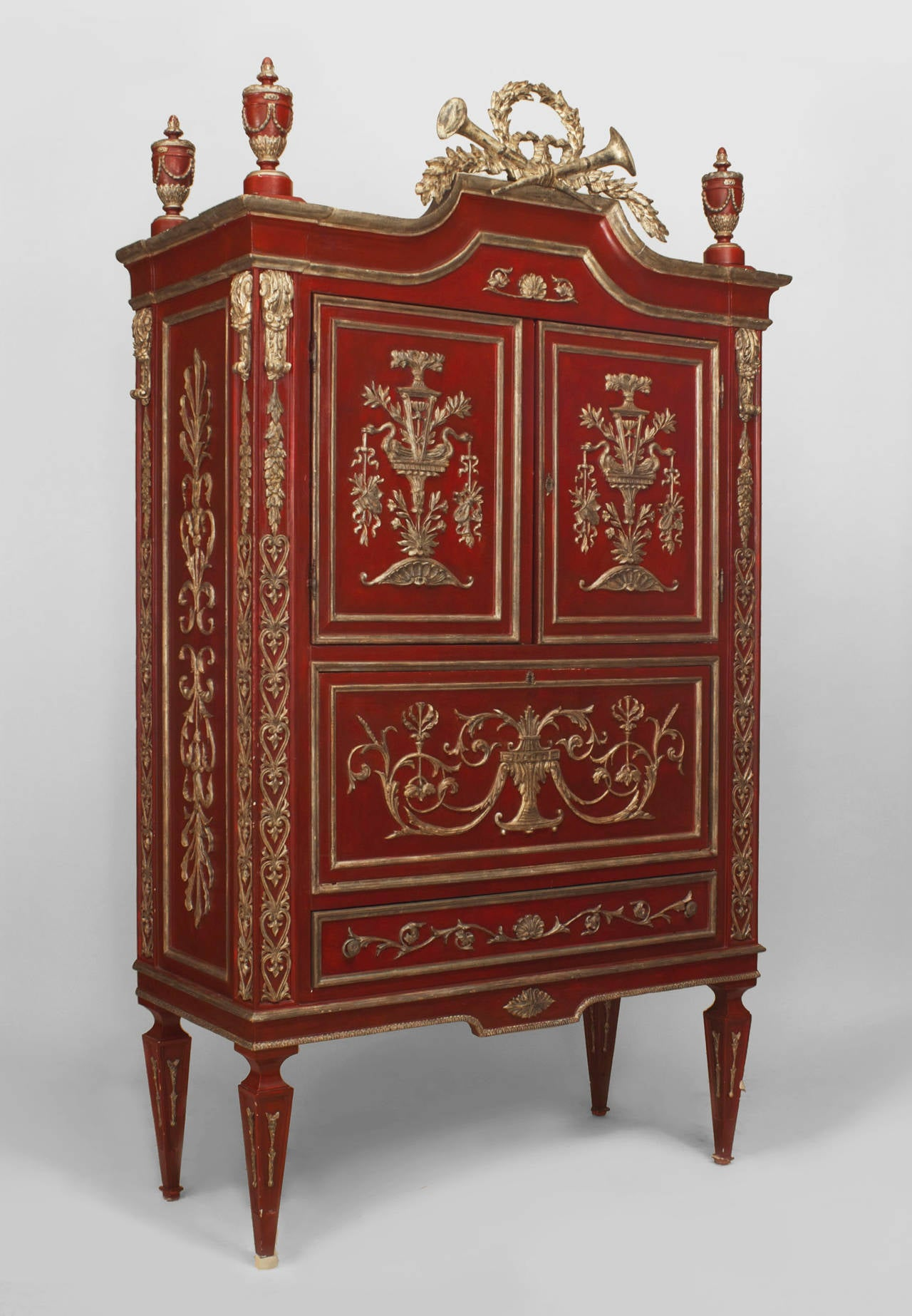 An Ornate Italian Neo Classic Scarlet Painted And Parcel Silver Gilt  Armoire 2